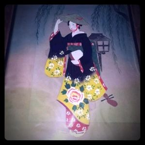 Framed Vintage Handpainted Korean Silks